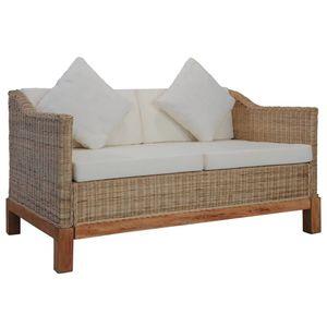 vidaXL 2-Sitzer-Sofa mit Auflagen Natur Rattan