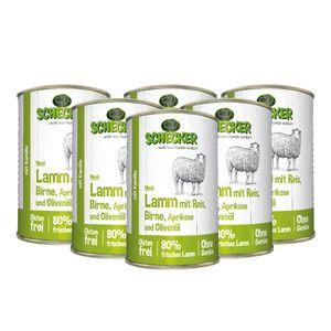 Schecker Hundemenü mit Lamm mit Reis Birne Aprikose und Olivenöl