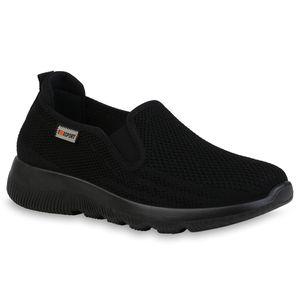 Giralin Damen Slip Ons Sportschuhe Sportliche Strick Profil-Sohle Schuhe 836637, Farbe: Schwarz, Größe: 38
