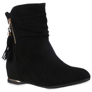 VAN HILL Damen Schlupfstiefeletten Stiefeletten Keilabsatz Quasten Schuhe 837871, Farbe: Schwarz, Größe: 39