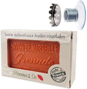 SudoreWell® Schwebender Seifenhalter mit Magnet plus Savon de Marseille - Naturseife Granatapfel 100g