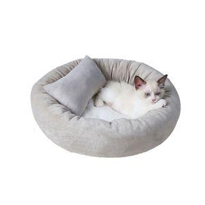 54cm Katzenbetten Hundebett Haustierbett Rund Bett für Katzen Hunde mit Kissen Grau