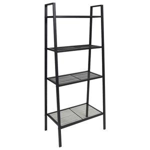 Leiter-Bücherregal 4 Ebenen Metall Schwarz, Bücherschrank, Raumteiler, Standregal, Aufbewahrungsregal, Wohnzimmerschrank