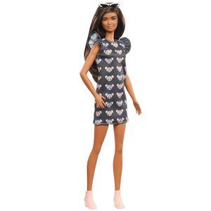 Barbie Fashionistas Puppe im grauen Kleid mit Mausaufdruck