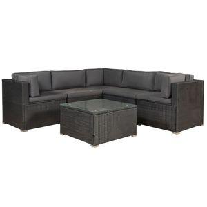 Polyrattan Lounge Nassau wetterfest – Gartenmöbel Set mit Ecksofa, Tisch & Auflagen - Gartenlounge für 5 Personen – Sitzgruppe Schwarz-Grau | Juskys