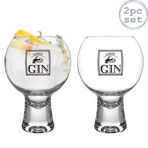 iStyle My Home 2 Stück Ikonic Damen Gin Gläser Set - Verzierte Short Stem Spanisch Ballon Copa de Balon Gin und Tonic Glass - 540ml