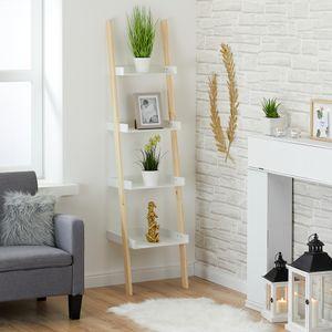 Leiterregal  Wandregal Regaltreppe aus Holz in Weiß H170 cm