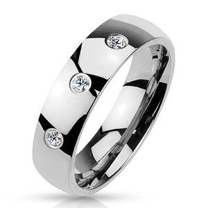 60 (19.1) Ring Stein Damen mit 3 gefassten Kristallen Edelstahl hochglanzpoliert silber Herrenring(Damen Fingerring Partnerringe Verlobungsringe Trauringe Damenring Edelstahlring Chirurgenstahl)