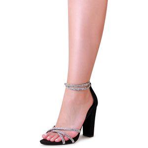 topschuhe24 2131 Damen Sandaletten Glitzer Riemchen Pumps, Farbe:Schwarz, Größe:39 EU