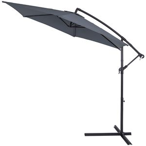 Sonnenschirm Ø330cm UV Schutz 40+ Ampelschirm Marktschirm Gartenschirm Kurbel , Farbe:anthrazit