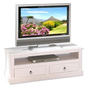 TV Konsole Kommode TV-Regal Provence 3 Massivholz weiß 2 Schubladen