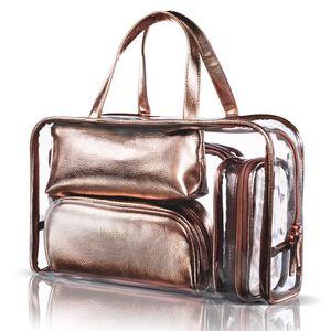 5 in 1 Kosmetiktasche und Kosmetiktasche transparente PVC-Kosmetiktasche Gepäcktasche, Roségold