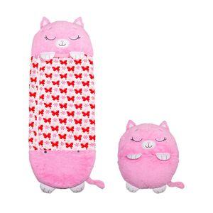 Happy Nappers Katze pink Large | spielen - kuscheln - schlafen | flauschiger Kinderschlafsack | 4 verschieden Motive | das Original aus dem TV