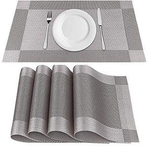 Abwaschbar Platzsets 4er PVC Tischsets Abwischbar rutschfest Platzdeckchen Premium Hitzebeständig Abgrifffeste Tischmatte 45cmx30cm