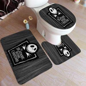 3 Stück Super Plüsch Anti-Rutsch Badematte Teppich Set Nightmare Before Christmas Toilettenteppiche