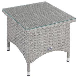 Casaria Poly Rattan Gartentisch Beistelltisch Balkontisch Gartenmöbel Tisch mit Glasplatte, Größe:M1 - 50x50x45cm