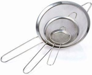 Feinmaschig Küchensieb Mehlsieb Set 7/12/18 cm, aus Edelstahl