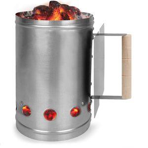 Kohlestarter Grillstarter XXL Stahl Anzündkamin mit Griff und Hitzeschild 17 x 17 x 27,5 cm ✔ stabiler Griff mit Hitzeschild ✔ mehrere Belüftungsöffnungen ✔ Shisha Kohle