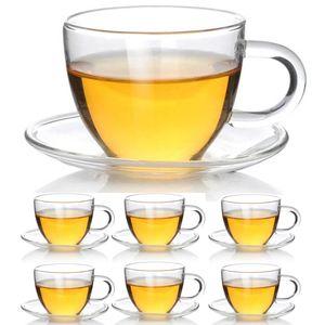 Teeglas Espressoglas mit Untertasse - Teetasse Espressotasse aus Glas - 1 Set