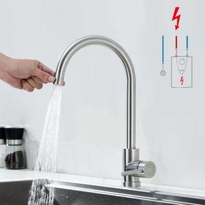 Niederdruck Armatur 2 Strahlarten Wasserhahn Küche aus Edelstahl Küchenarmatur 360° Schwenkbar Niederdruck Mischbatterie Küche