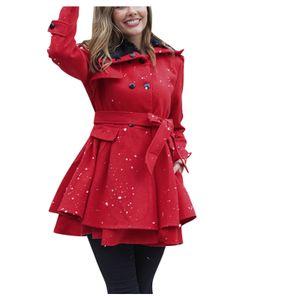 Frauen Kunstwolle Warme Slim Coat Jacke Dicker Parka Mantel Lange Winter Outwear Größe:5XL,Farbe:Rot