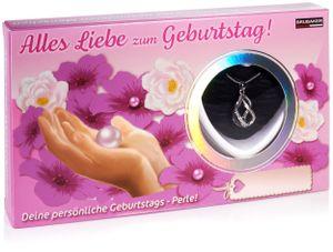 BRUBAKER Wunschperle Geburtstag - Halskette mit Helix Anhänger + Muschel mit echter Perle als Schmuck Geschenkset