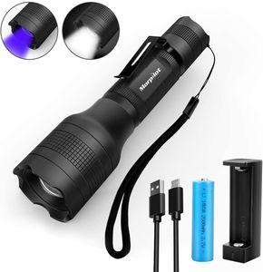2 in 1 UV Lampe,  USB wideraufladbare uv Taschenlampe