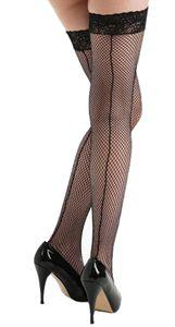 Schompi Damen Vintage Halterlose Netz Strümpfe mit Naht - Fishnet Seamed Lace Hold Ups Schwarz, Größe:Einheitsgröße