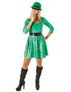 The Riddler-Kostüm aus Batmanfür Damen schwarz-grün