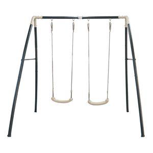 AXI Schaukel aus Metall in Anthrazit & Creme | Doppelschaukel mit Gestell für 2 Kinder / Kinderschaukel | Schaukelgestell für den Garten