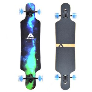 "Apollo Longboard ""Galaxy LED"" Twin Tip DT Komplettboard mit LED Wheels 101,6 x 24,6 cm 8 Lagen Holzdeck"