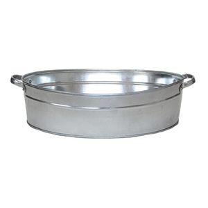 Rivanto® Zink Wanne mit Griffen, oval, Größe L, Wasch Wanne, 59 x 45 cm, Höhe 15 cm, Wasser Wanne für Garten, Terrasse & Balkon