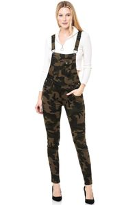 Damen Jeans Latzhose Tarnmuster Skinny Latzjeans Overall Hose, Farben:Camouflage, Größe:M