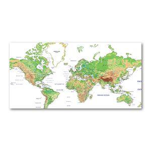 Tulup® Leinwandbild - 140x70 cm - Wandkunst - Drucke auf Leinwand - Leinwanddruck  - Landkarten & Flaggen - Grün - Weltkarte