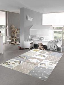 Kinderzimmer Teppich Spielteppich Regenbogen Punkte Herzchen Wolken beige grau braun Größe - 140x200 cm