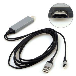 Für iPad iPhone Handy 11 XS 8 7 6 Micro USB zu HDMI 1080P HD TV Kabel Draht MHL auf HDMI Adapt 【Schwarz】