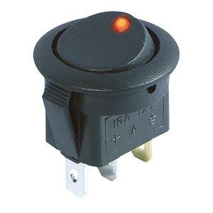 KFZ Schalter rund 3 Polig rote LED 12V 16A Ein/Aus 20mm Wippenschalter Schwarz