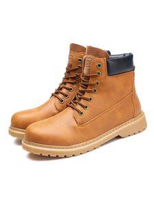 Uni Kalbsstiefel dicke Absätze High Heels Stiefel lässige Schnürstiefel mit runden Zehen,Farbe: Braun,Größe:36