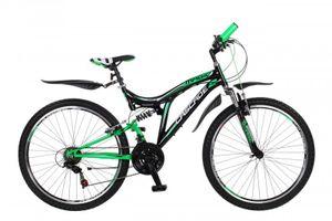 26 Zoll Kinder Jugend Jungen Mädchen Fahrrad Herrenfahrrad Jungenfahrrad Jugendfahrrad Kinderfahrrad Mountainbike MTB Rad 18 Gang Shimano Vollfederung Fully Cascade Grün Schwarz