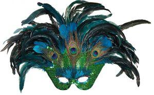 O43926 Maske Pfau Pfauenmaske Vogelmaske Federmaske
