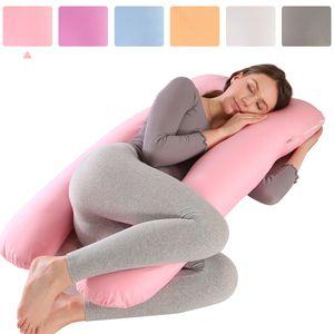 Schwangerschaftskissen Baumwolle Seitenschläferkissen Stillkissen groß Kissen für Schwangere Frauen, Körperkissen Ganzkörperkissen (U Form,130x60cm,Rosa )