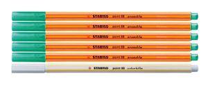 Fineliner mit löschbarer Tinte - STABILO point 88 erasable Grün 5 Stifte + 1 Tintenlöscher