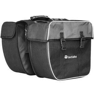 tectake Fahrradtasche mit Gepäckträger-Befestigung und Reflektorstreifen - schwarz