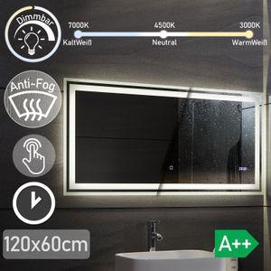 Aquamarin® LED Badspiegel - 120x60 cm, Beschlagfrei, Dimmbar, 3 Lichtfarben 3000-7000K, Kaltweiß Neutral Warmweiß, energiesparend, Digitaluhr mit Datum - Badezimmerspiegel, Lichtspiegel, LED Spiegel