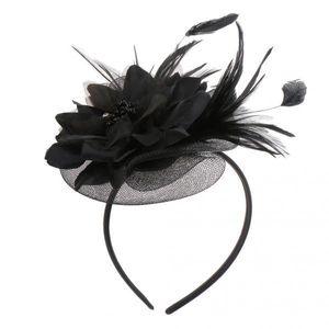 Dame Federn Fascinator  Schleier Hut Haarband Hochzeit Partei Kostüm Schwarz