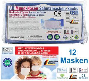 12x Mund-Nasen Schutzmasken FFP2 Anti Mundschutz Maske Atemschutzmaske Stoff - Wiederverwendbar