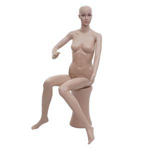 Schaufensterpuppe HWC-E37, weiblich Frau Schaufensterfigur Puppe Mannequin Schneiderpuppe, sitzend lebensgroß beweglich