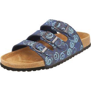 Supersoft 274-138 Damen Pantolette Sandale blau multi Riemchen Leder Fußbett
