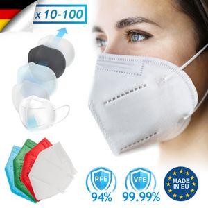 Virshields® FFP2 Mundschutz Maske - PFE 94%, VFE 99.99%, EN 149:2001+A1:2009, 5 Lagen, 5-100 Stück, Filtrierend,  EU, Weiß/Blau/Grün/Rot - Atemschutzmaske, Schutzmaske (50 Stück, Weiß)