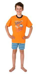 Jungen Shorty Pyjama kurzarm Schlafanzug, Hose gestreift - 102 505 10 801, Farbe:orange, Größe:158/164